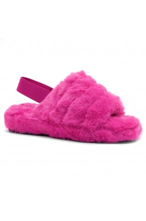 Shoe Land SL-MCKENNA Women's Fluffy Slide Slippers Fuzzy Platform Sandals with Elastic Strap (Fuchsia)