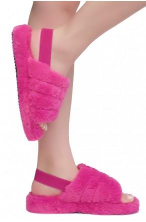 Shoe Land SL-MCKENNA Women's Fluffy Slide Slippers Fuzzy Platform Sandals with Elastic Strap (Fuchsia)