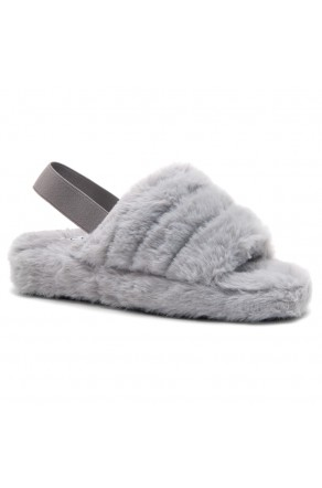 Shoe Land SL-MCKENNA Women's Fluffy Slide Slippers Fuzzy Platform Sandals with Elastic Strap (Grey)
