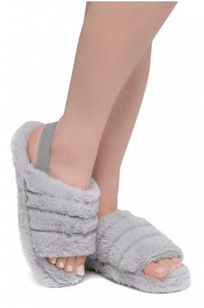 Shoe Land SL-MCKENNA Women's Fluffy Slide Slippers Fuzzy Platform Sandals with Elastic Strap (Grey)
