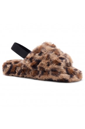 Shoe Land SL-MCKENNA Women's Fluffy Slide Slippers Fuzzy Platform Sandals with Elastic Strap (Leopard)