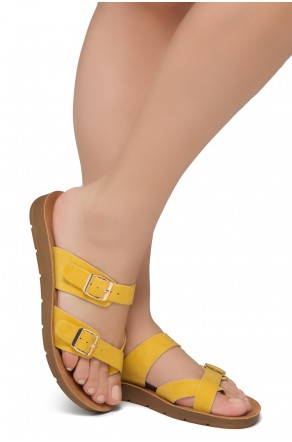 ShoeLand Women's Manmade NOLITA(SL) - Flat Sandal with buckle accents(Yellow)