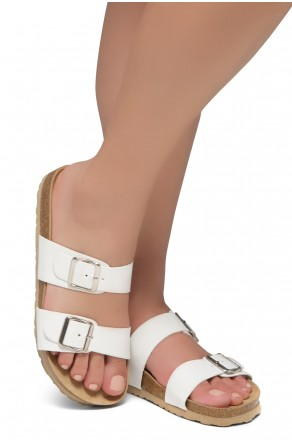 Shoe Land SL-Nylah-Open Toe Buckled Cork Slide Sandal(White)