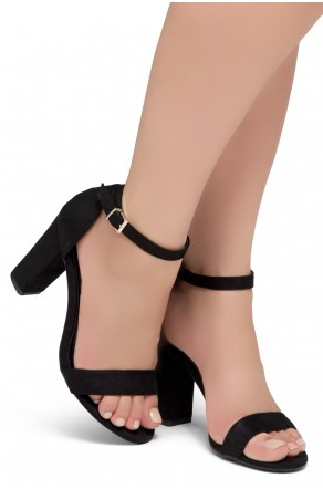 Shoe Land SL-ROMINA-Women's Open Toe Ankle Strap Chunky Block Heel Dress Sandals (Black)