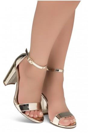 Shoe Land SL-Rosemmina Open Toe Ankle Strap Chunky Heel (1901Gold)