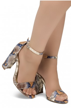 Shoe Land SL-Rosemmina Open Toe Ankle Strap Chunky Heel (MultiSnake)