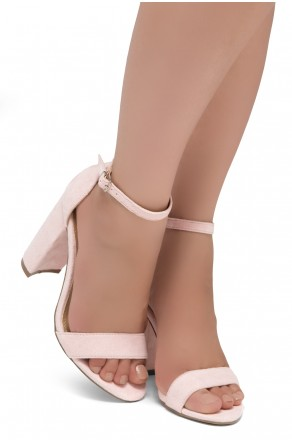 Shoe Land SL-Rosemmina Open Toe Ankle Strap Chunky Heel (Pink)
