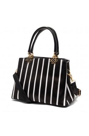 SLD-BELICIA- Minimalist Lines Pattern Casual Tote Bag (Black)