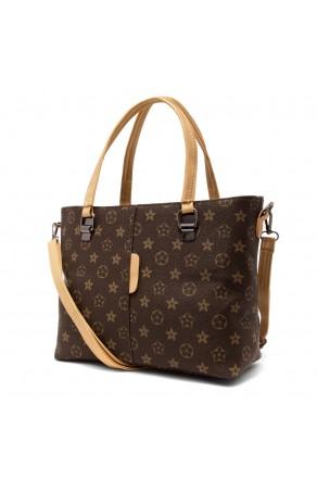 SLD-BELLE- Roomy Tonal Pattern Casual Tote Bag (Brown)