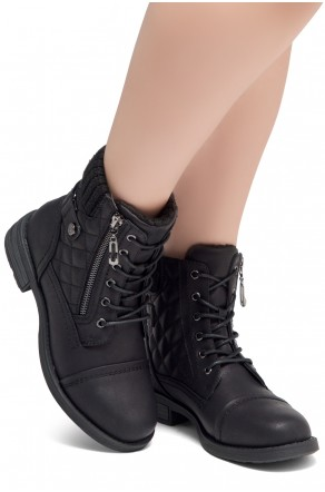HerStyle SLGABRIANNA-Lace up Plaid Fold down Combat Booties (1721/Black)