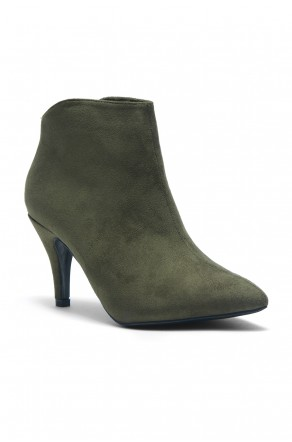 HerStyle Women's Manmade Slmanderr Sueded Ankle Boot with 3.5-inch Heel (Olive)