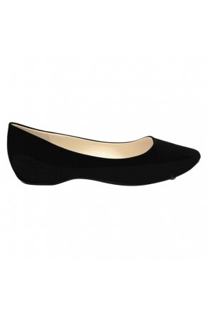 Women's Black Manmade Smarrillee Smooth Pump Flat with Gently Pointed Toe