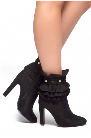 HerStyle Smith-Almond toe, Ruffle Cuff, Pearls and Studs detail, Stiletto Boots (Black)