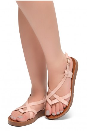 HerStyle SMOOTH MOVE- Flat Sandal with straps cross vamp(Blush)