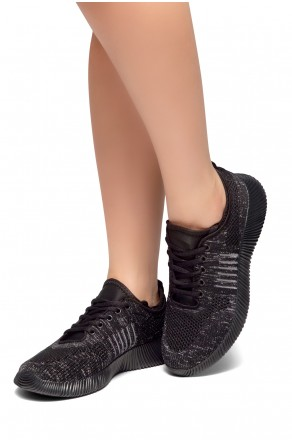 HerStyle SO FRESH-Knit Lace up Rigged Sneaker (Black)
