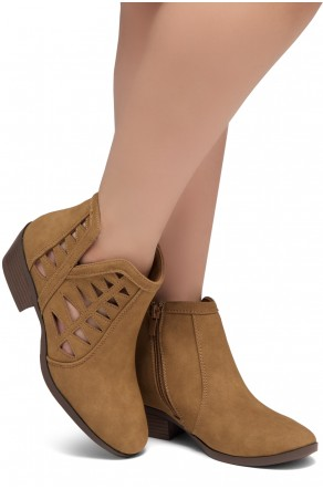 ShoeLand Sobrylla-Perforated Cutout Accents Stacked Low Heel Almond Toe Ankle Booties (Tan)