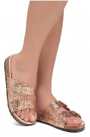 HerStyle SOFTEY-Open Toe Buckled Cork Slide Sandal(1836 RosegoldGLT)