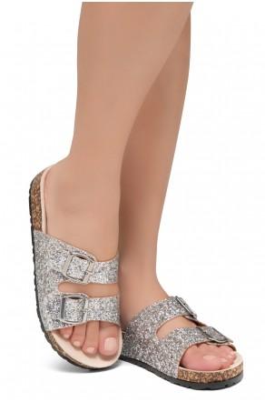 HerStyle SOFTEY-Open Toe Buckled Cork Slide Sandal(1836 SilverGLT)