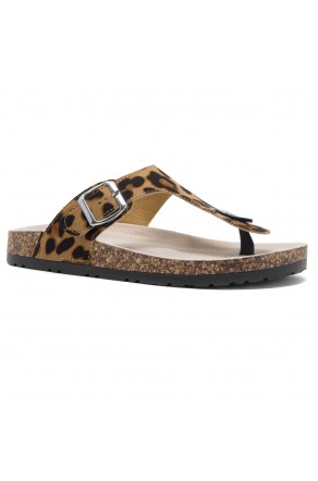 HerStyle SOFTEY-Open Toe Buckled Cork Slide Sandal(1896 Leopard)