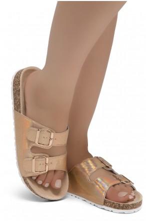 HerStyle SOFTEY-Open Toe Buckled Cork Slide Sandal(1901/Rosegold/Snake)