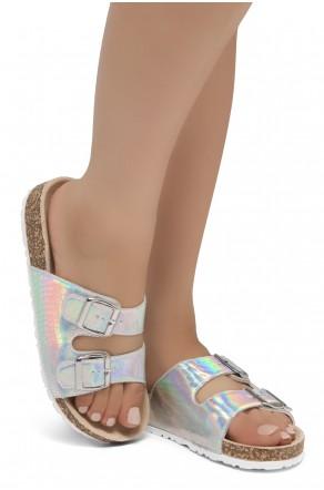 HerStyle SOFTEY-Open Toe Buckled Cork Slide Sandal(1901/Silver/Snake)