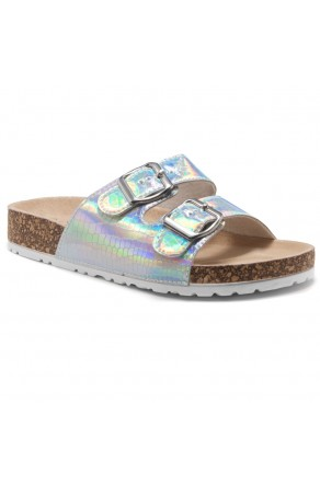 HerStyle SOFTEY-Open Toe Buckled Cork Slide Sandal(1901/Silver/Snake)