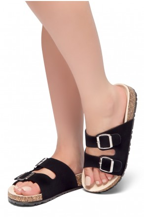 HerStyle SL-110115 Open Toe Buckled Cork Slide Sandal (Black)
