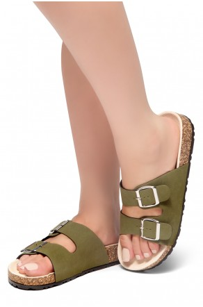 HerStyle SOFTEY-Open Toe Buckled Cork Slide Sandal(Forest Green)