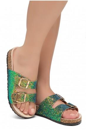HerStyle SOFTEY-Open Toe Buckled Cork Slide Sandal(GreenGLT)