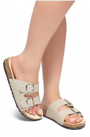 HerStyle SOFTEY-Open Toe Buckled Cork Slide Sandal(Khaki)