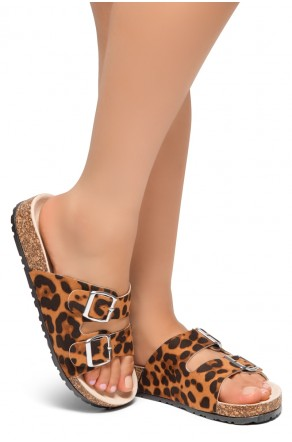 HerStyle SOFTEY-Open Toe Buckled Cork Slide Sandal(Leopard)