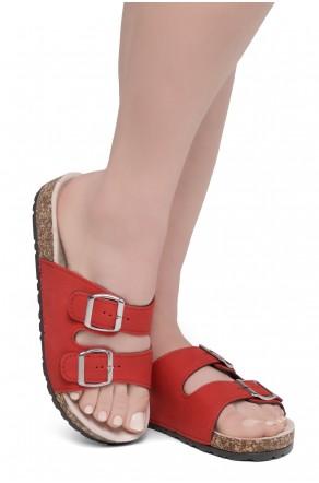 HerStyle SOFTEY-Open Toe Buckled Cork Slide Sandal(Red)