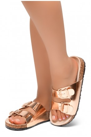 HerStyle SOFTEY-Open Toe Buckled Cork Slide Sandal(RoseGold)