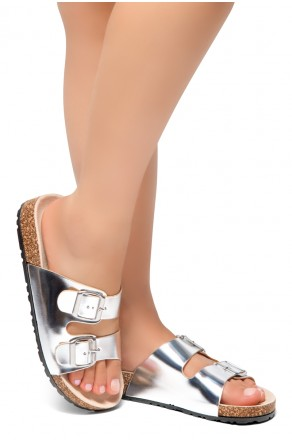 HerStyle SOFTEY-Open Toe Buckled Cork Slide Sandal(Silver)