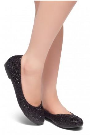 HerStyle SOLE-SHINE-Round toe, jeweled embellishments flats (Black)