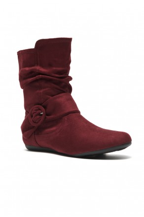 Women's Burgundy Staaton Women's Fashion Calf Flat Heel Side Zipper, Buckled, Slouch Ankle Boots