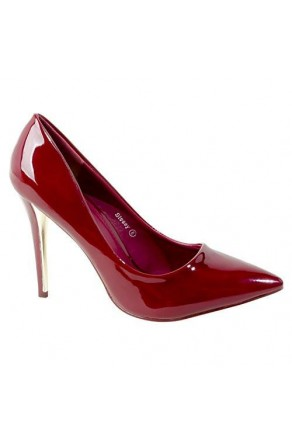 Women's Burgundy Manmade Stessy 4-inch Pointed Pump with Glossy Sheen