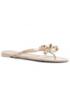 Shoe Land SUMMER-Women's Flip Flops Jelly Sandals With Studs Accents(1896/Beige)