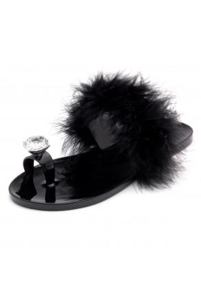 Shoe Land SUMMER Women's Cute Toe Ring Fur Slides Slippers Fashion Comfort Flat Sandals(2000BlackFur)
