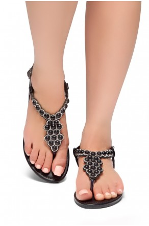 HerStyle Summer Grow- T-Strap Thong Sandals with Patterned Beads Jeweled Vamp (Black)
