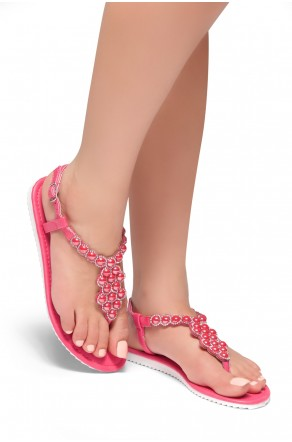 HerStyle Summer Grow- T-Strap Thong Sandals with Patterned Beads Jeweled Vamp (Fuchsia)