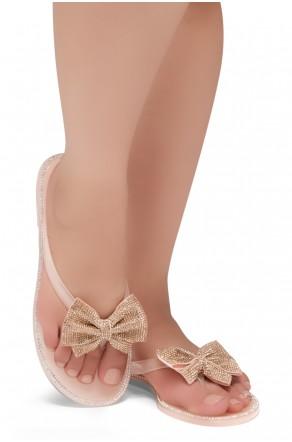 Shoe Land SUMMER-Women Rhinestone Bowtie Flip Flops Jelly Thong Sandals (Nude)
