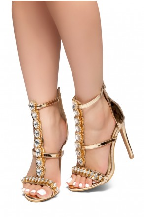 HerStyle Sweetest Thing-Stiletto heel, faux crystal detail, back zipper closure (ClearGold)