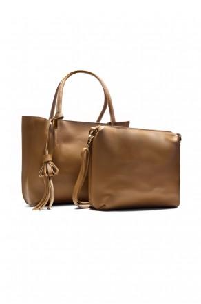 SYL-6096- Large Tassel Fashion Tote With Matching Bag (Khaki)