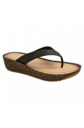 Women's Black Manmade Symone Low Wedge Sandal with Faux Cork Sole