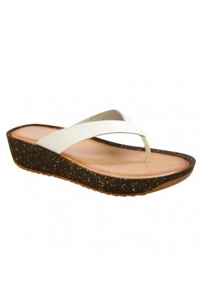 Women's White Manmade Symone Low Wedge Sandal with Faux Cork Sole