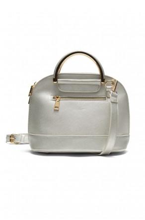 SZ11-16216- Zip around dome satchel mini top handle tote (Silver)