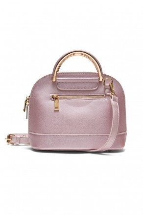 SZ11-16216- Zip around dome satchel mini top handle tote (Pink)