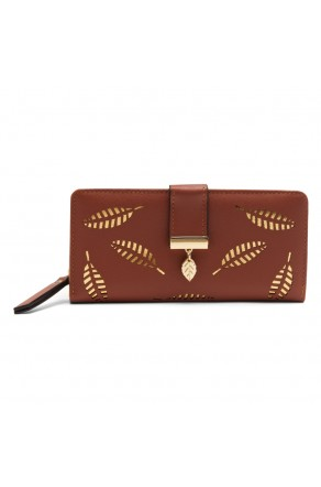 SZ17-LH1-15739 - Women's Wallet with Card slots and ID window Zipper Purse  (Brown)