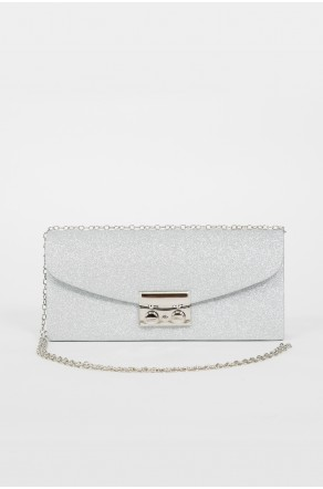 Runway Babe Crossbody Clutch (Silver)